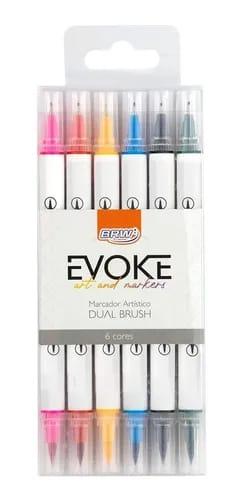 Marcador artístico Dual Brush C/ 6 Cores - BRW