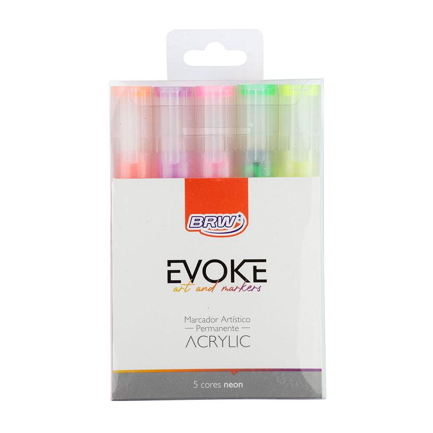 Marcador Artístico  Evoke ACRYLIC NEON C/5 CORES