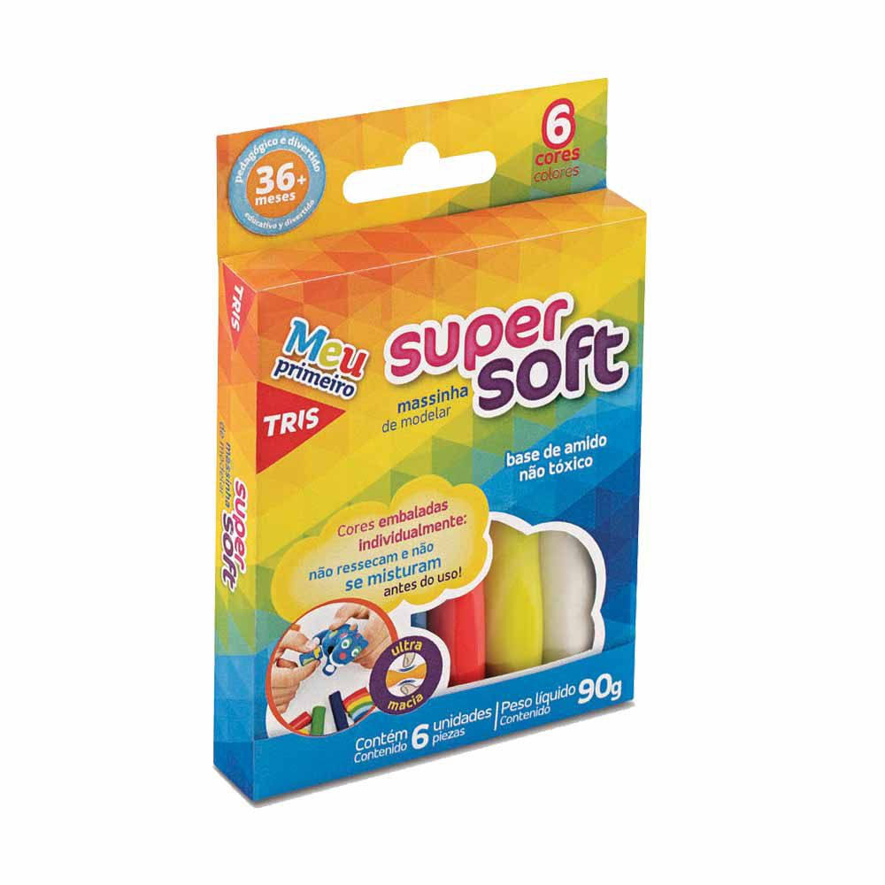 Massa de Modelar Super Soft Tris 6 cores