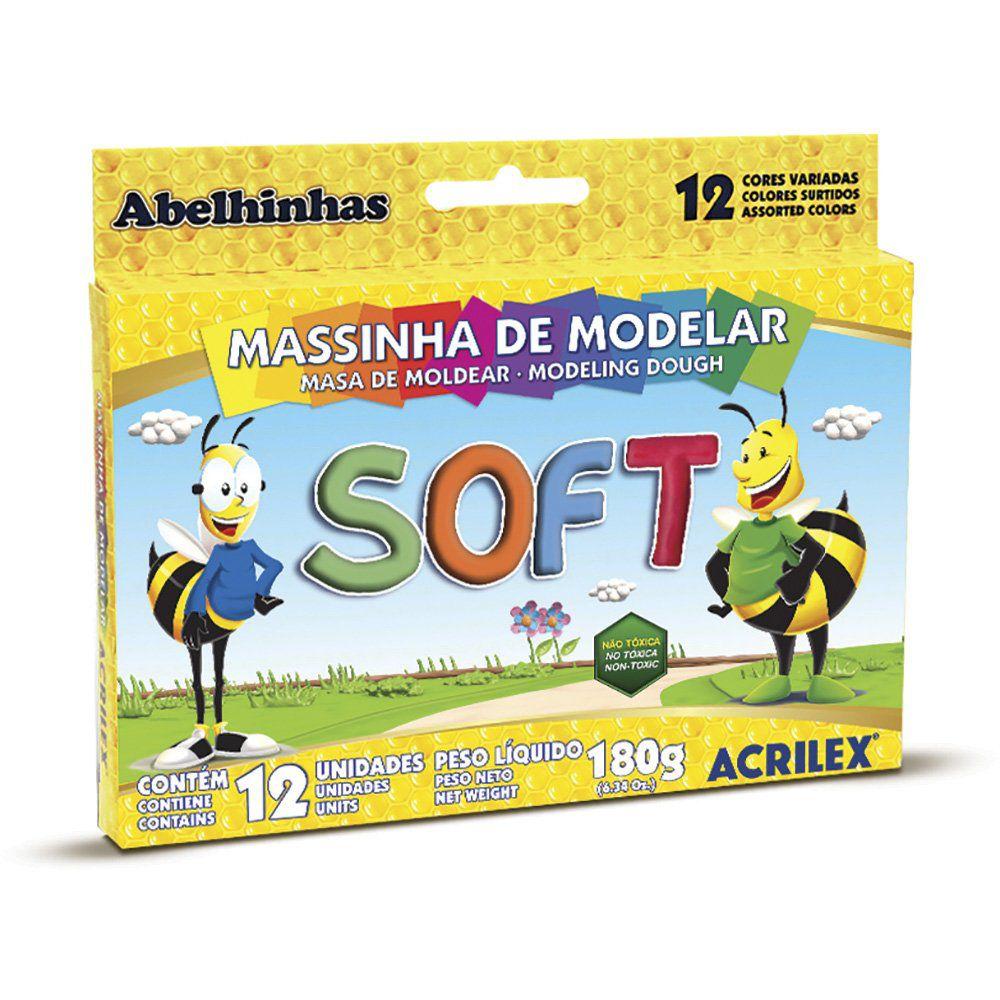 Massa de Modelar Soft Acrilex 12 cores