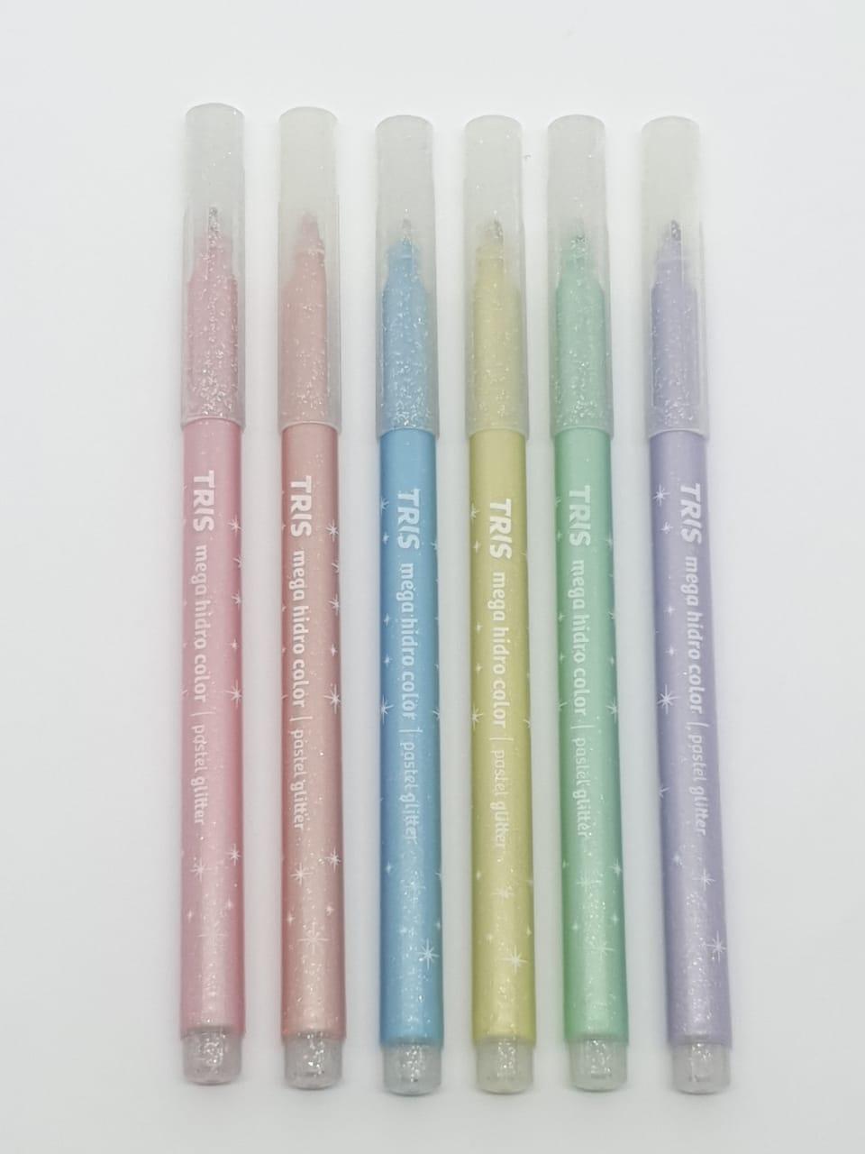 Mega Hidro Color Pastel Glitter C/ 6 UNIDADES