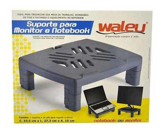 Suporte Para Monitor e Notebook Preto Waleu