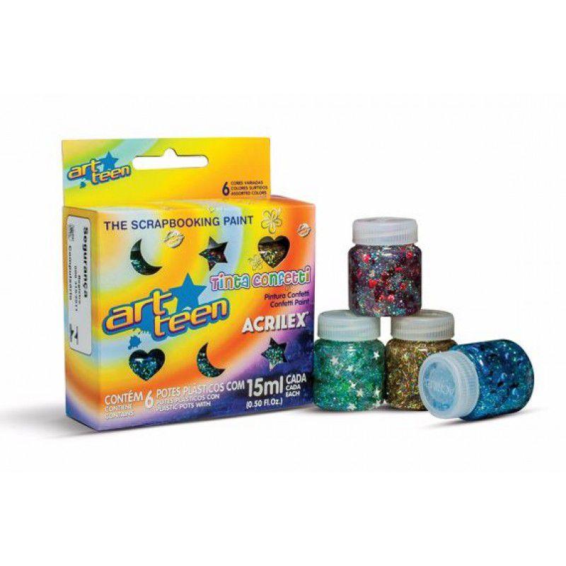 Tinta Confetti Acrilex C/ 6 Cores