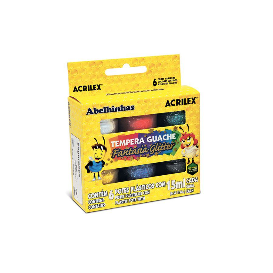 Tinta Guache Fantasia Glitter C/ 6 Cores - Acrilex