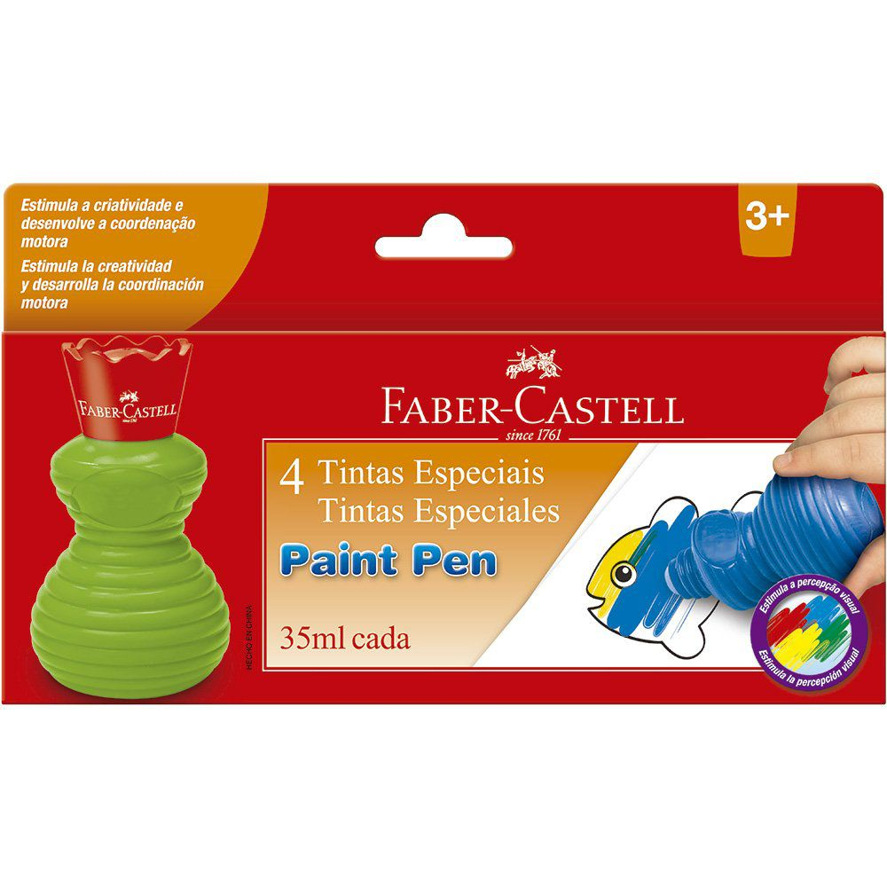 Tinta Paint Pen Faber Castell 4 cores