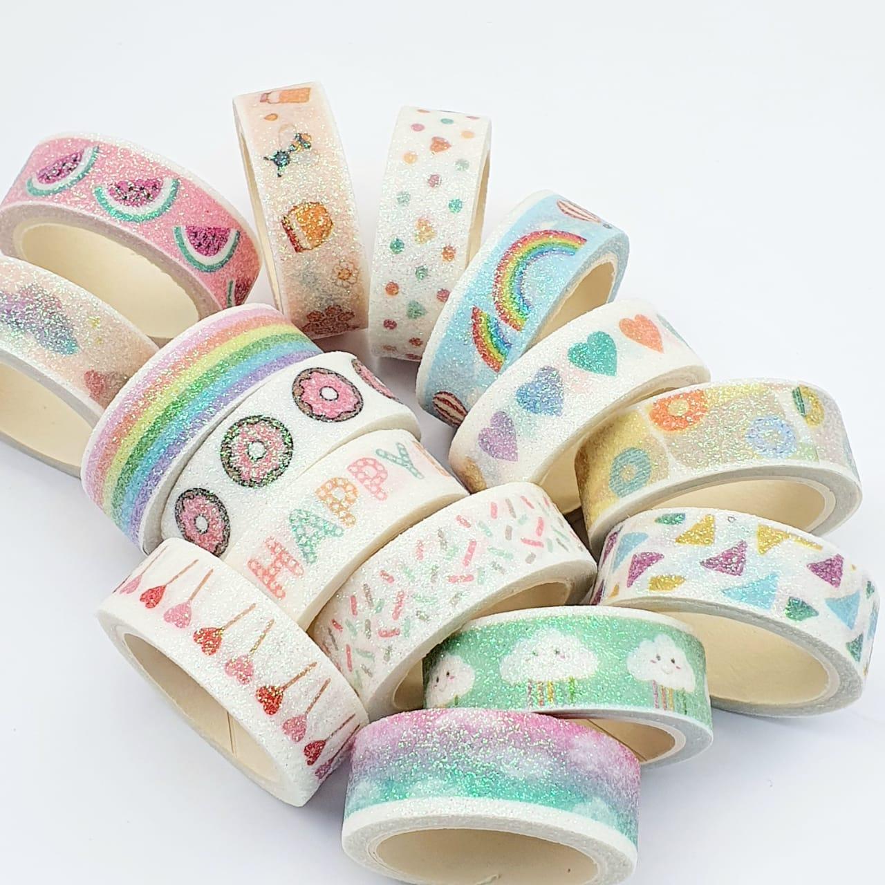 Washi Tape Decorada C/ Glitter