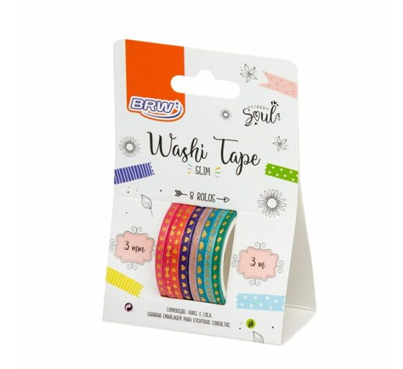 Washi Tape Slim  C/ 8 Rolos - BRW