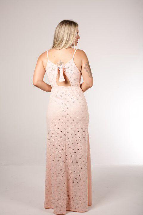 Vestido Longo Up Zup Rosé com Botões Frontais