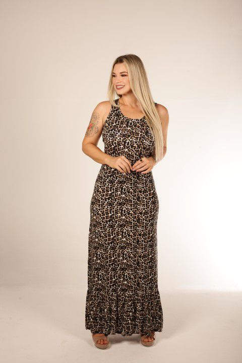 Vestido Longo Up Zup Estampa Animal Print com Babado Barra