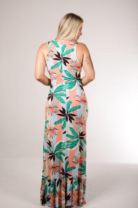 Vestido Longo Up Zup Estampa Floral Clara com Babado Barra