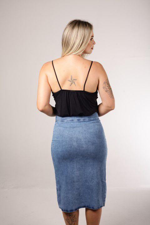 Saia Jeans Midi Up Zup com Abertura Frontal