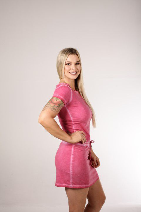 Vestido Estonado Up Zup Rosa com Amarração Frontal