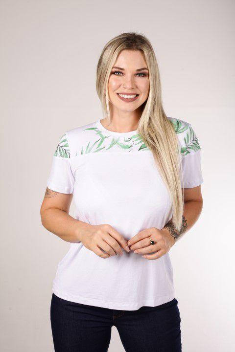 Blusa Up Zup T-shirt Branca com Pala Estampada