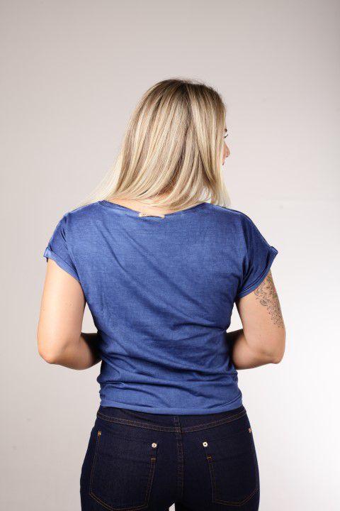 Blusa Estonada Up Zup Azul T-shirt com Amarração Frontal
