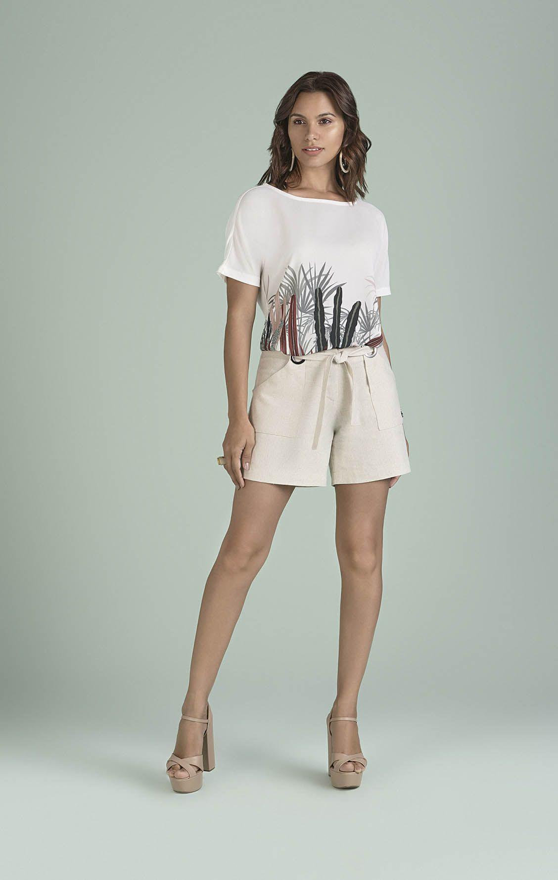 Shorts Off White com Ilhós Smel