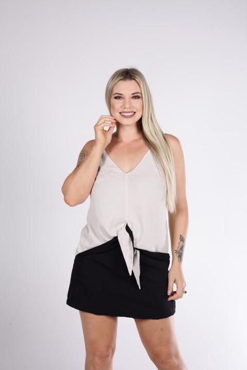 Blusa Bege com Alça de Amarração Na Frente Smel