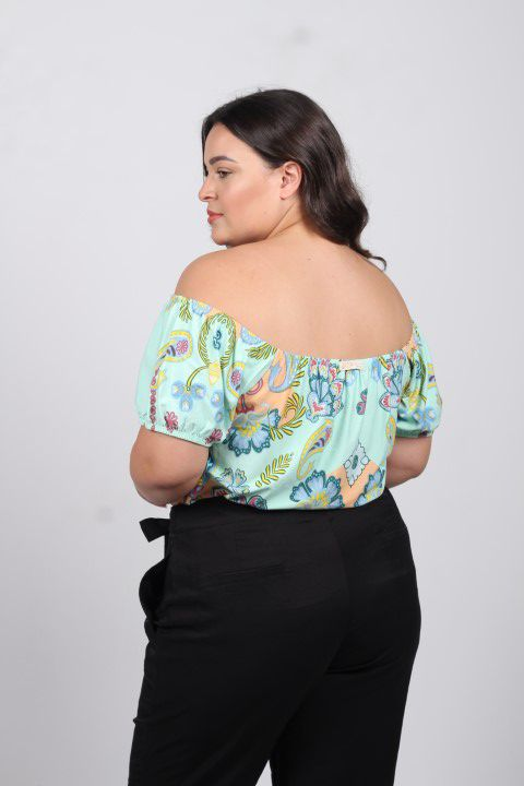 Blusa Cigana Up Zup Estampada com Barrado