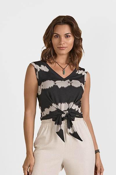 Blusa Cropped de Malha Listrada Preta com Amarração Smel