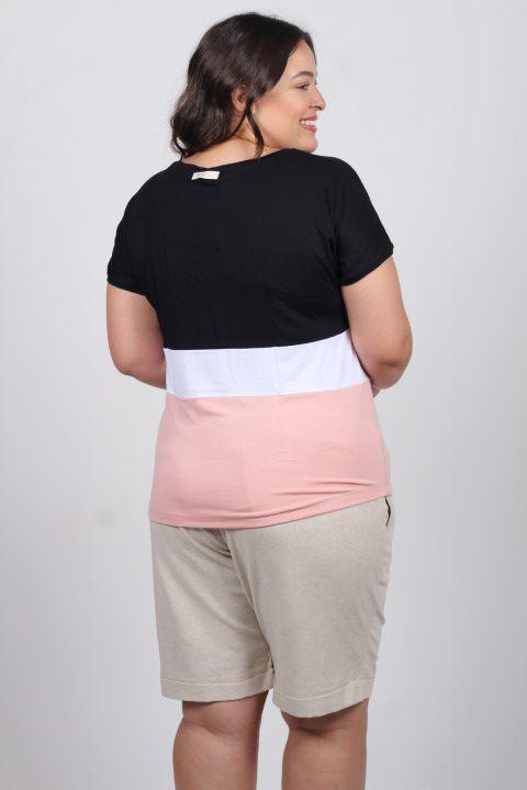 Blusa Manga Curta Up Zup T-shirt Preta com Branco e Rosa