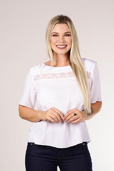 Blusa T-shirt Branca Composê Devorê Smel