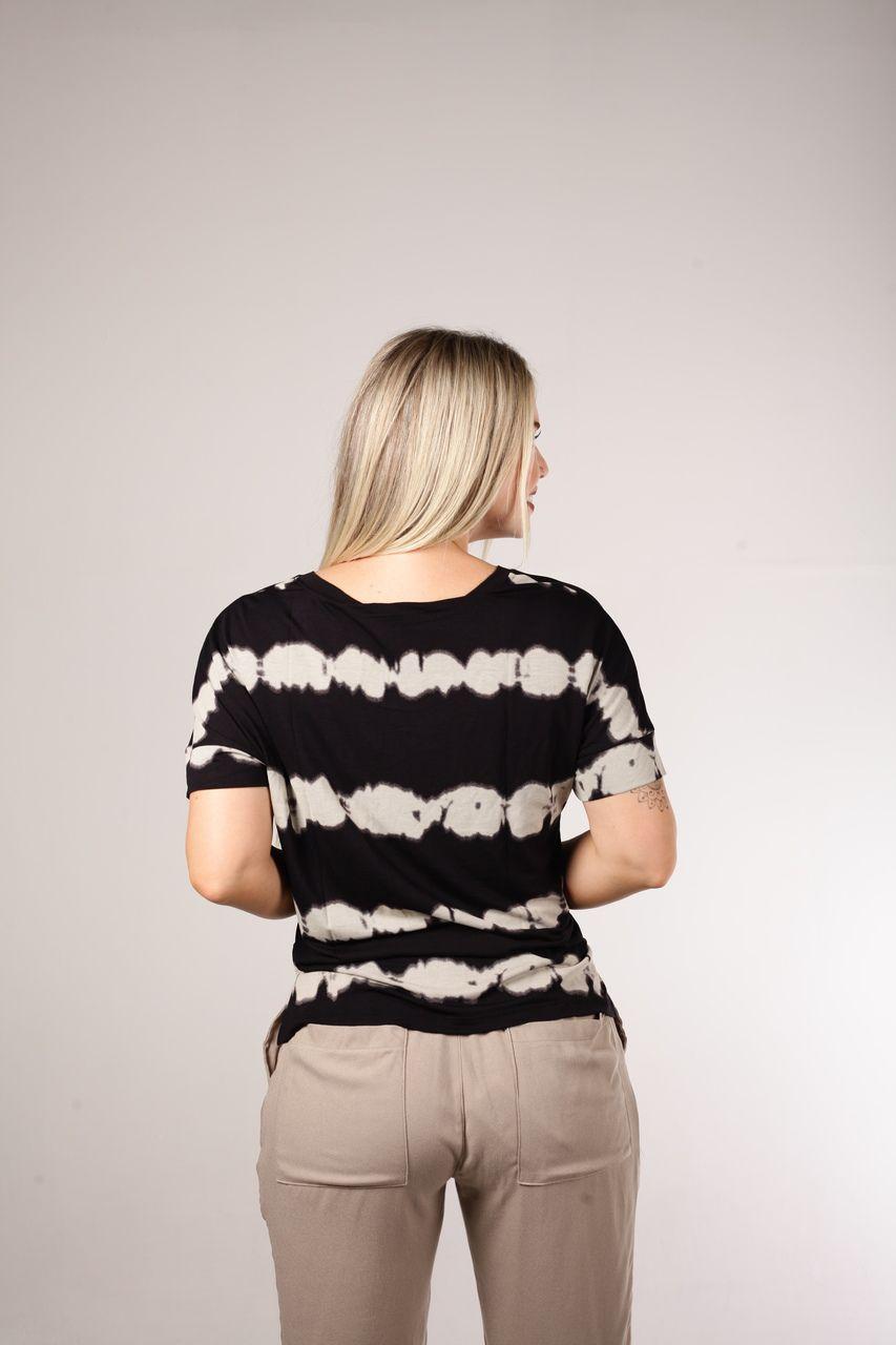 Blusa De Malha T-shirt Estampada Preta Tie Dye Smel