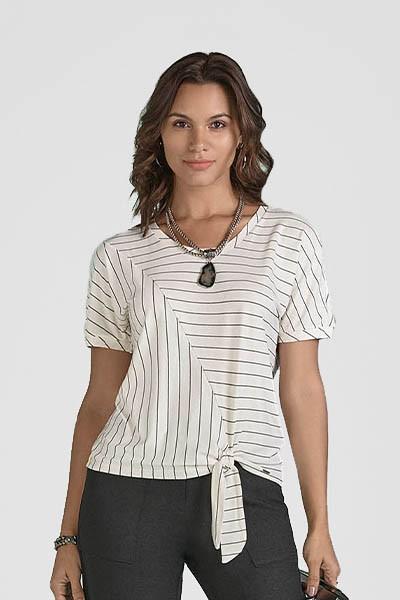 Blusa T-shirt Off White De Malha Com Listras E Amarração Smel