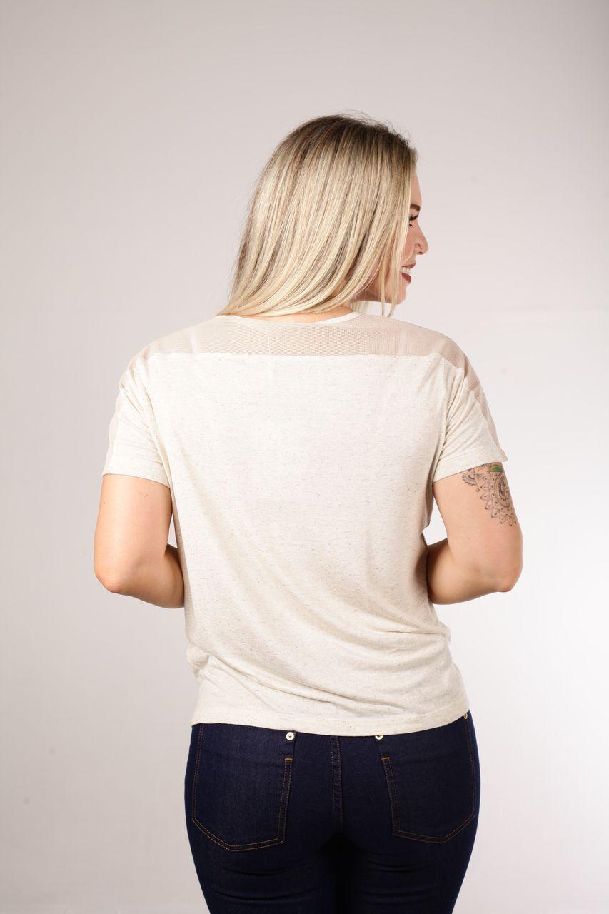 Blusa T-Shirt Composê Gauze Bege Smel