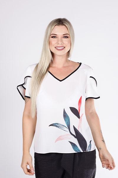 Blusa T-Shirt Off White Estampada Com Manga Tulipa Smel