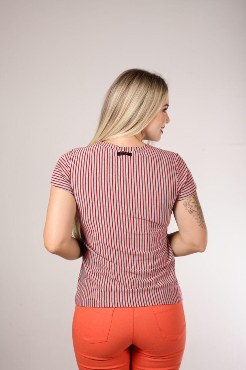 Blusa Up Zup T-shirt Mescla com Listras Vermelhas e Pala no Busto