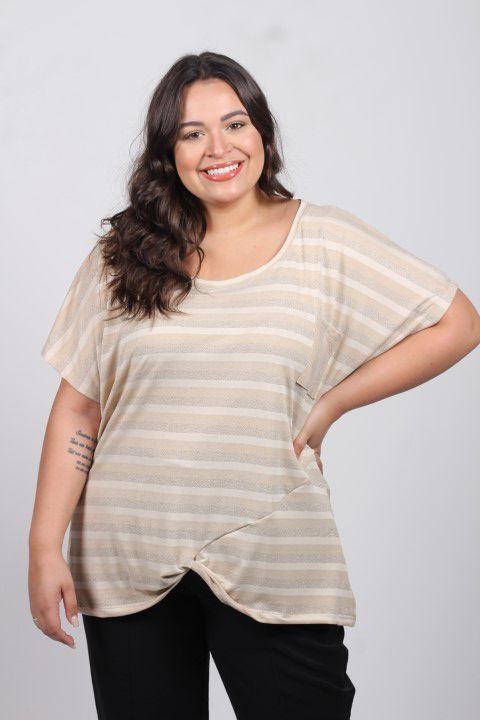 Blusa Up Zup T-shirt Bege Listrada com Brilho