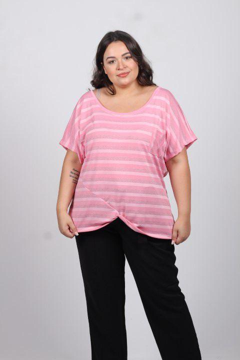 Blusa Up Zup T-shirt Listrada com Brilho