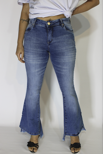 Calça Jeans Bordado Mignon Flare