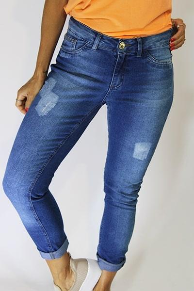 Calça Jeans Cigarrete Cós Médio