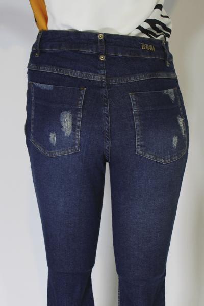 Calça jeans Cropped com Botão Lateral - Tamanho:36