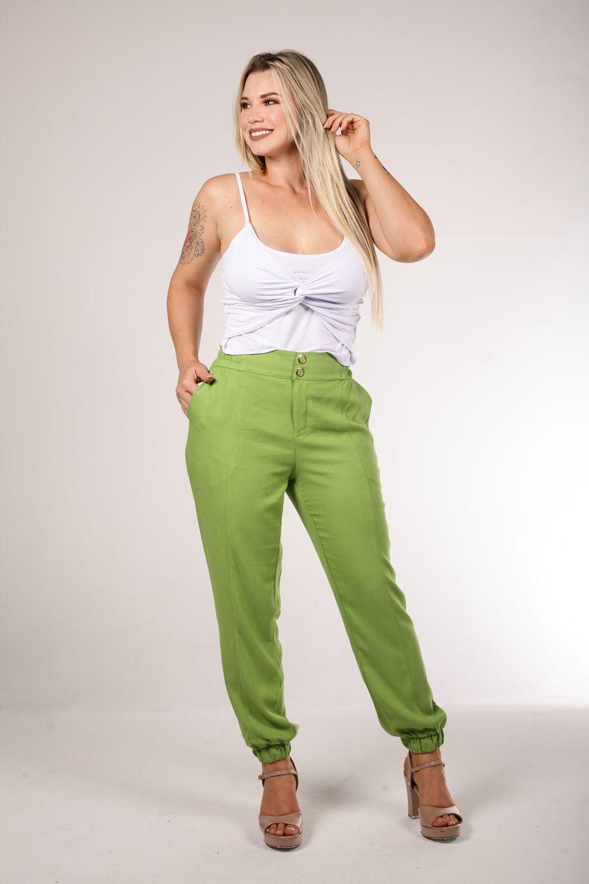 Calça Tigrara Crepe Verde com Elástico Na Barra