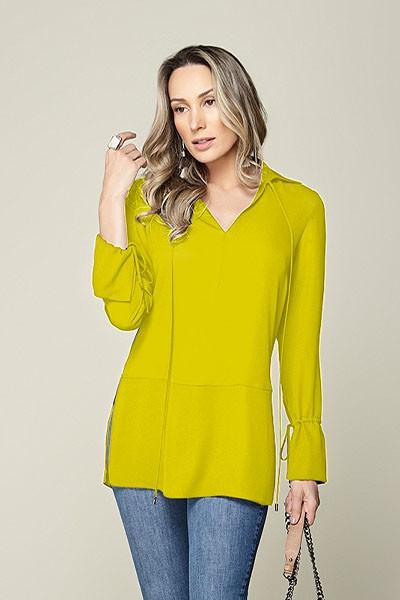 Camisa cintura baixa com amarração amarela Smel