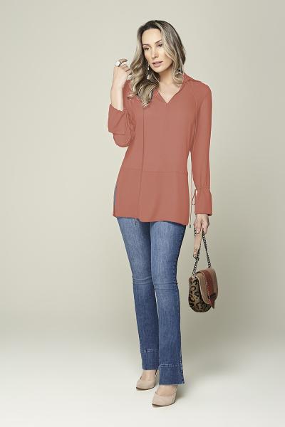 Camisa cintura baixa com amarração coral Smel