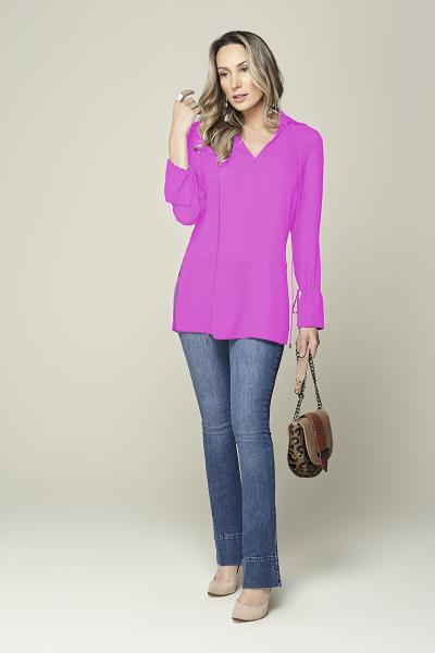 Camisa cintura baixa com amarração lilás Smel