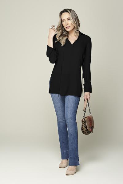 Camisa cintura baixa com amarração preta Smel
