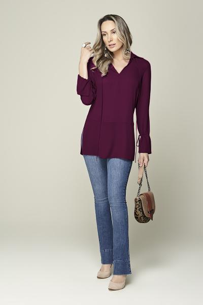 Camisa cintura baixa com amarração púrpura Smel