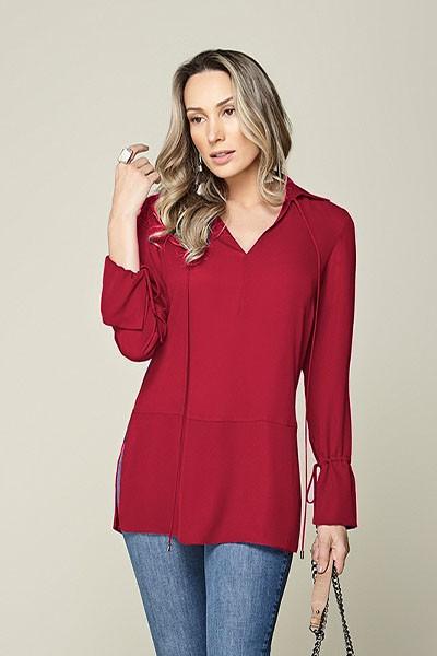 Camisa cintura baixa com amarração rosa Smel