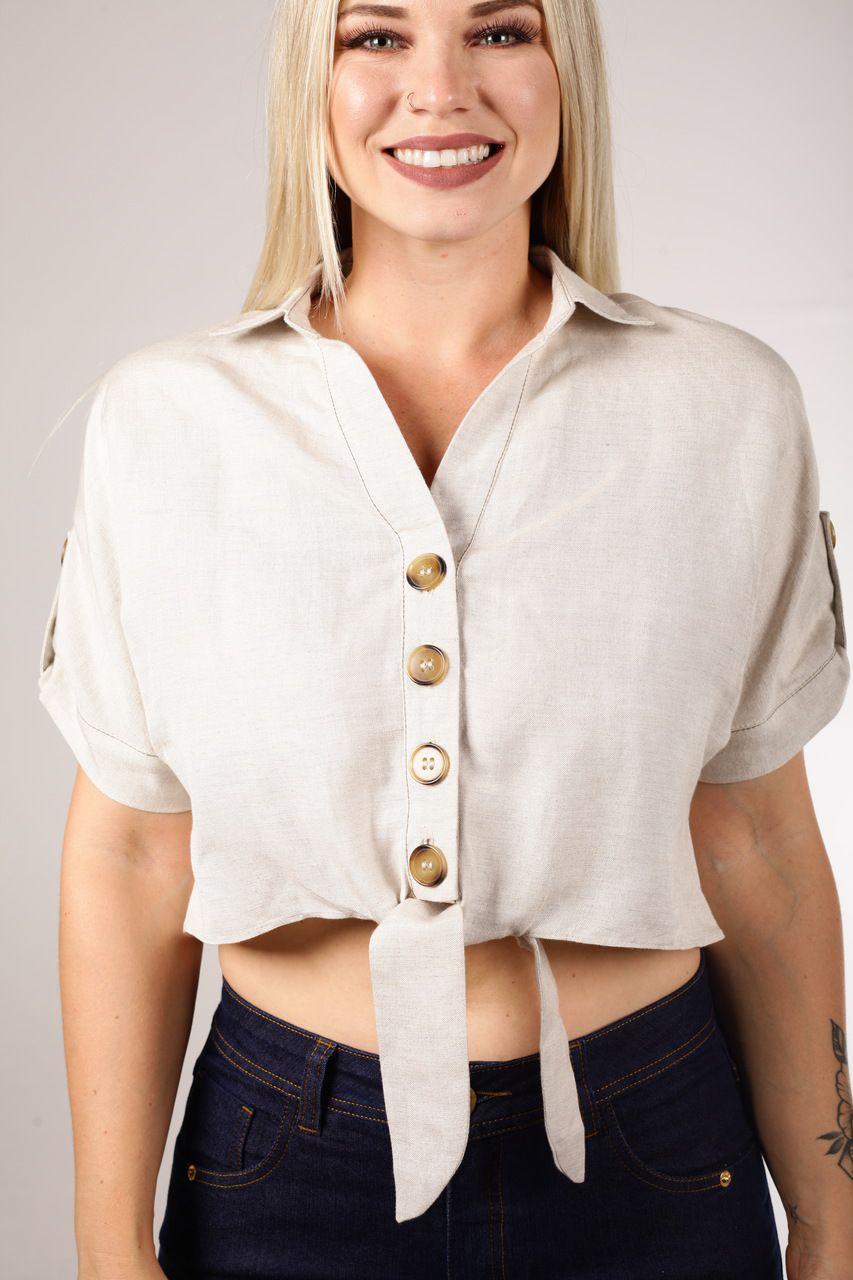 Camisa Cropped Linho com Amarração Smel