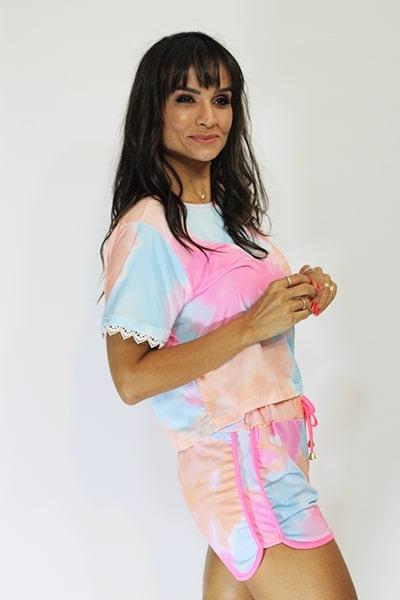 Cropped UseUp T-shirt Tie Dye com Renda