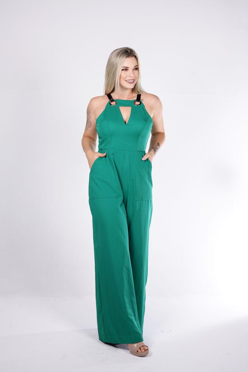 Macacão Tigrara Pantalona Verde com Alça Em Fita