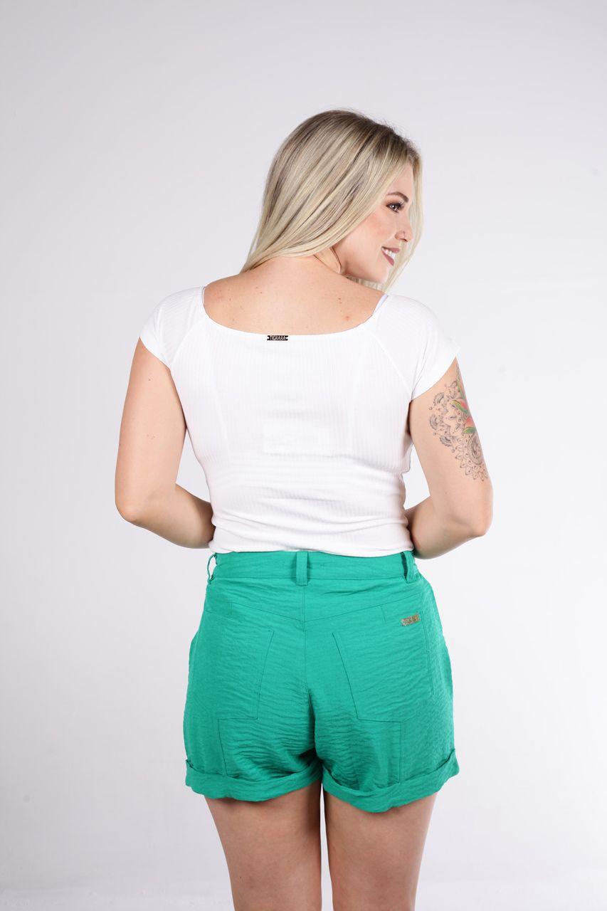 Shorts Tigrara Linho Verde Hortelã com Detalhe Em Cinto
