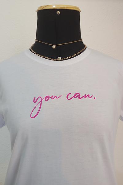 T-shirt Anneliz Branca Estampada You Can