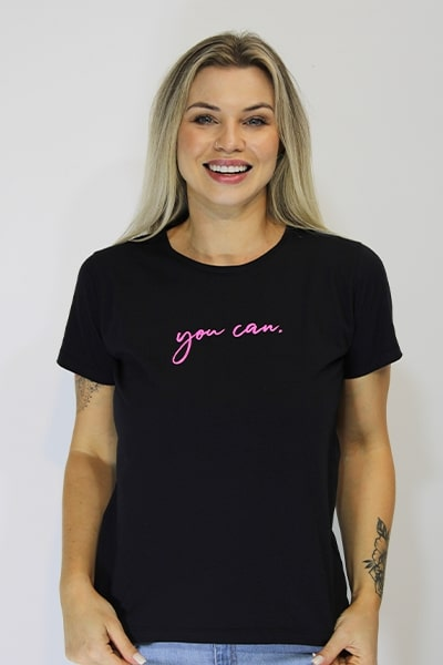 T-shirt Anneliz Preta Estampada You Can