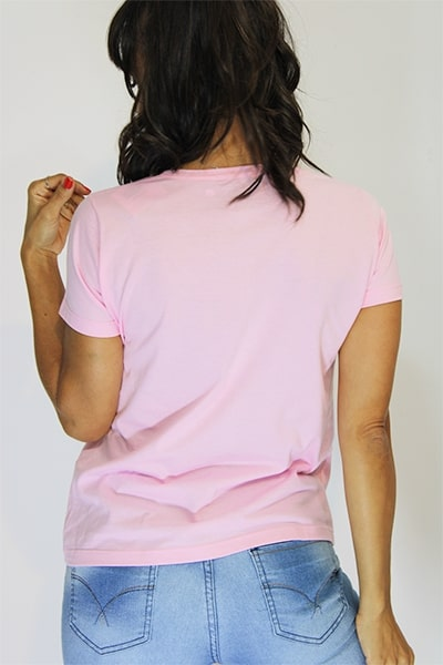 T-shirt Anneliz Rosa Estampa Forte e Corajosa