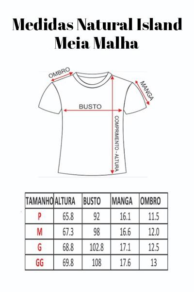 T-shirt Natural Island Meia Malha Bordado Paradise