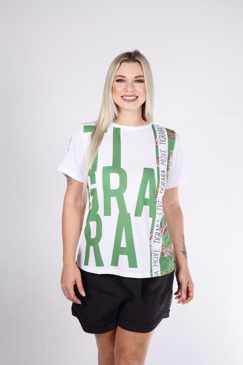 T-Shirt Tigrara Branca Estampada